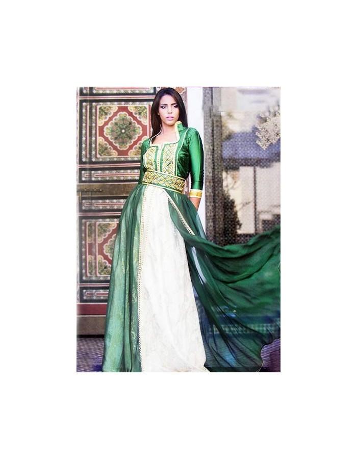 robe marocaine de mariage verte col officier pas cher. Black Bedroom Furniture Sets. Home Design Ideas