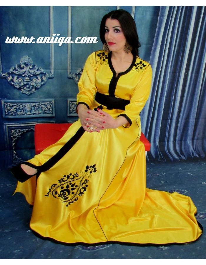 caftan marocain jaune et noir tendance 2018  2019  caftan paris