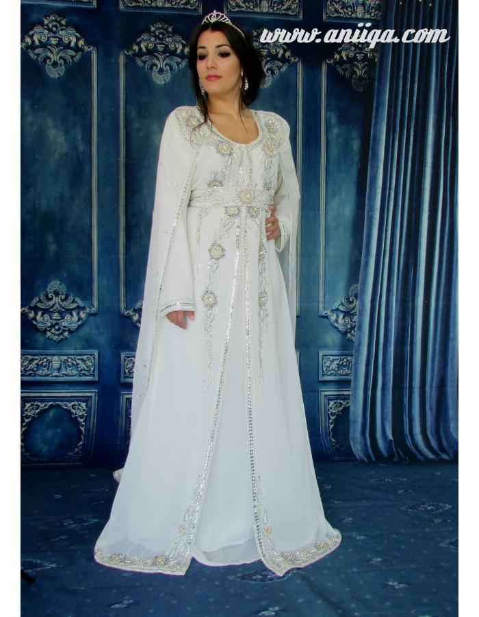 bee3549e97c08 robe orientale blanche de mariage , robe de soirée orientale blanche