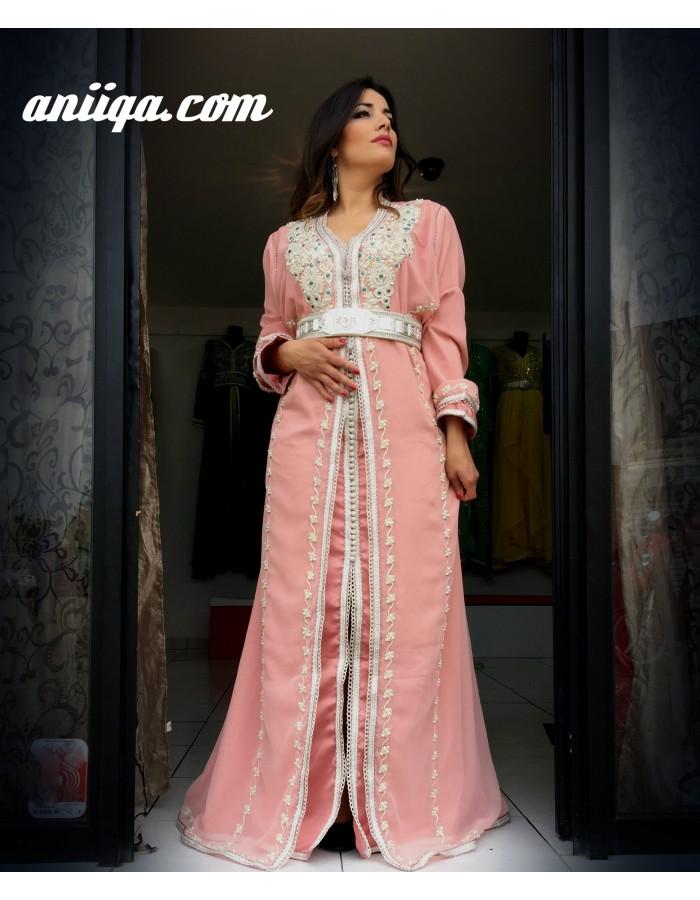 caftan robe marocaine grande taille rose pale mousseline et satin brod et perl tendance. Black Bedroom Furniture Sets. Home Design Ideas