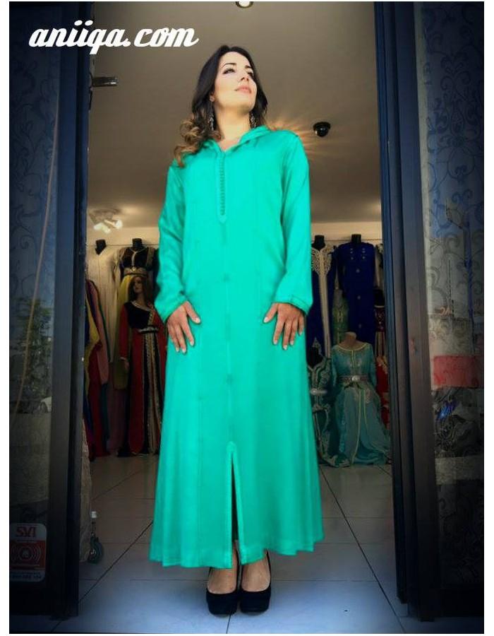 jellaba marocaine en mlifa vert d u0026 39 eau  simple et chic   modele 2016