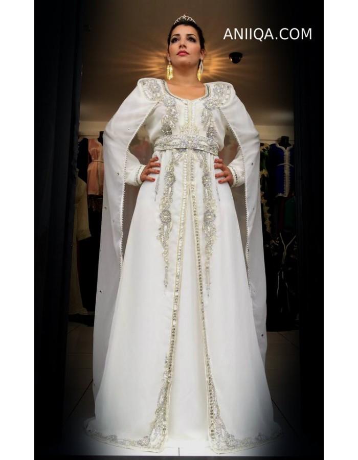 Robe orientale blanche de mariage grande taille pas cher