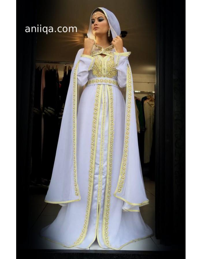 Caftan mariage 2018 blanc et dor caftan mariage paris for Boutique de location de robe de mariage dubai