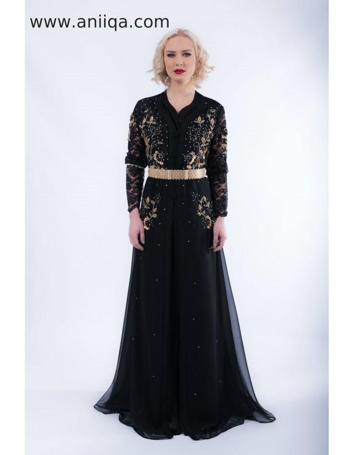 761d76899b7 caftan luxe noir 2018/2019.caftan noir a paris.robe orientale pas cher