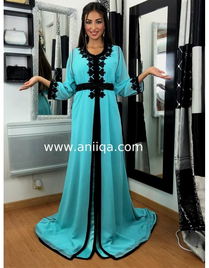 af1bc539e14 Caftan simple bleu turquoise Loubna. Loading zoom