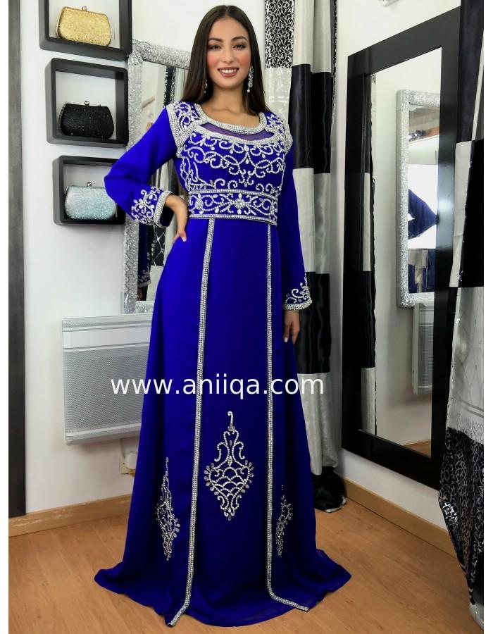 f73b9244945 Caftan Dubai Bleu roi et argent Rania