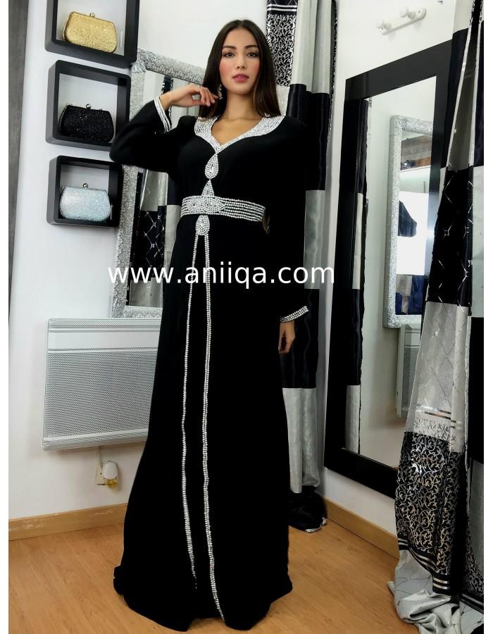 Robe de soiree caftan noir