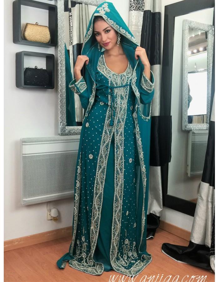 0f01b2e0944 Caftan dubai bleu vert style sari indien. Loading zoom