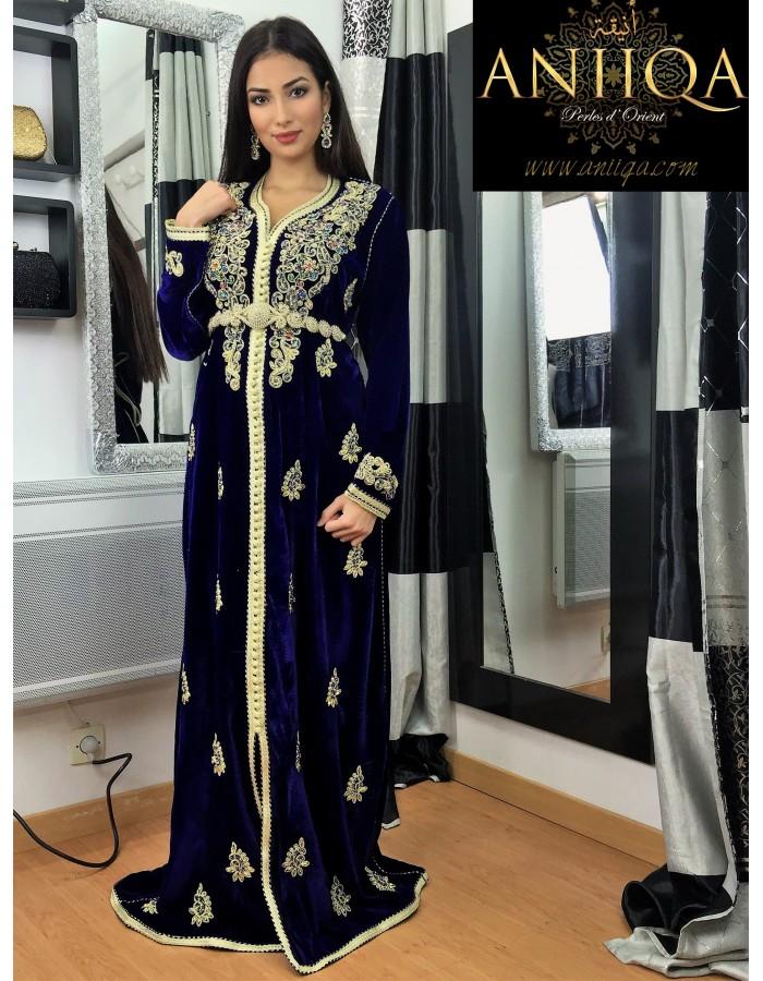 Caftan marocain velours bleu roi Zineb 48e38e8cdfe