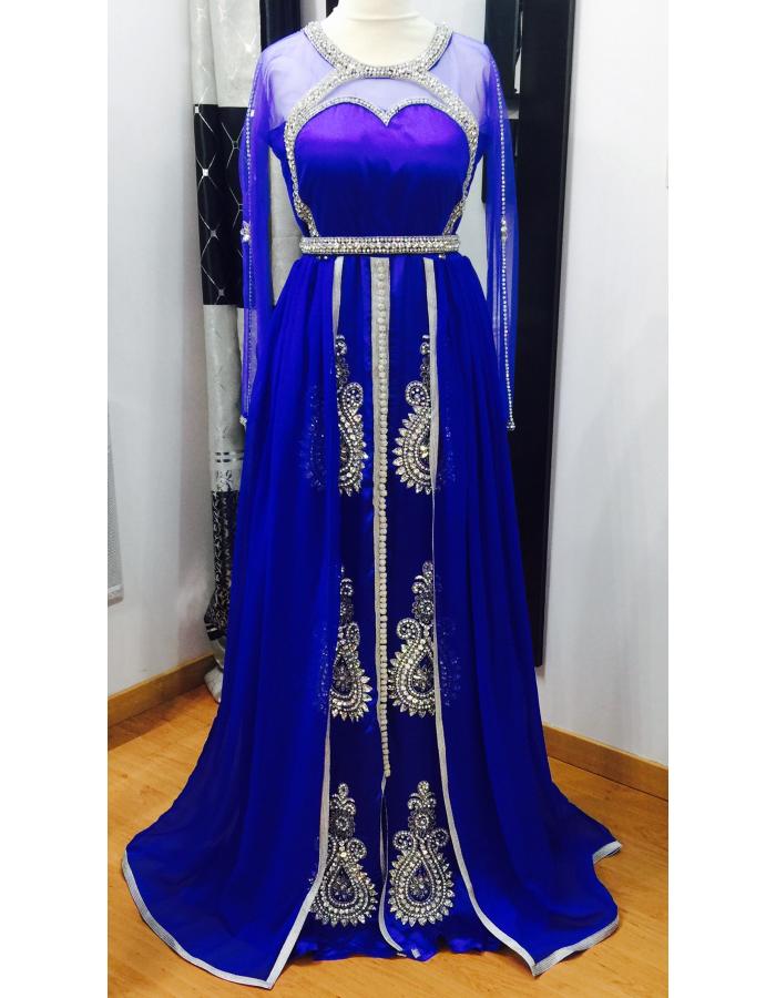 Robe de soiree orientale bleu