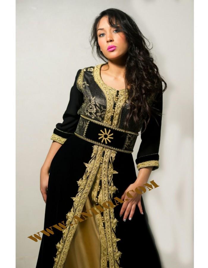 e611fa1a7f360 robe orientale en velours noir pas cher